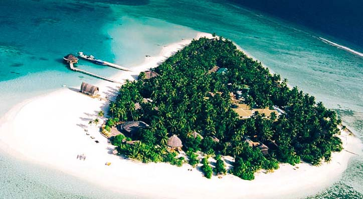 view of the island from the air