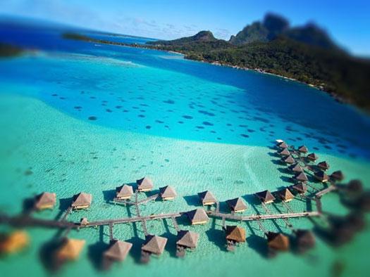 virs ūdens bungalo, par. Bora Bora, franču Polinēzija