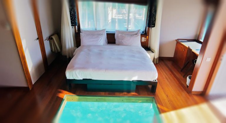 Double bed in a room at the Le Meridien Bora Bora