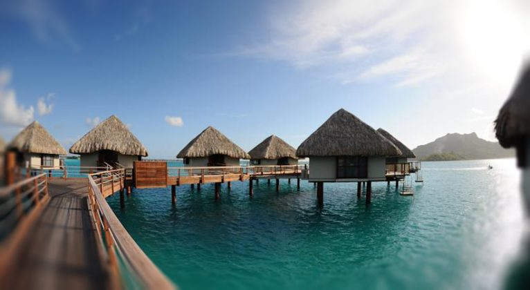 Pomostki leading to surface bungalows at Le Meridien Bora Bora